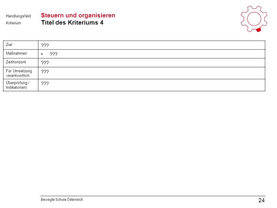 Bewegte Schule Österreich Kriterium Handlungsfeld Steuern und organisieren Titel des Kriteriums 4 24 Ziel .