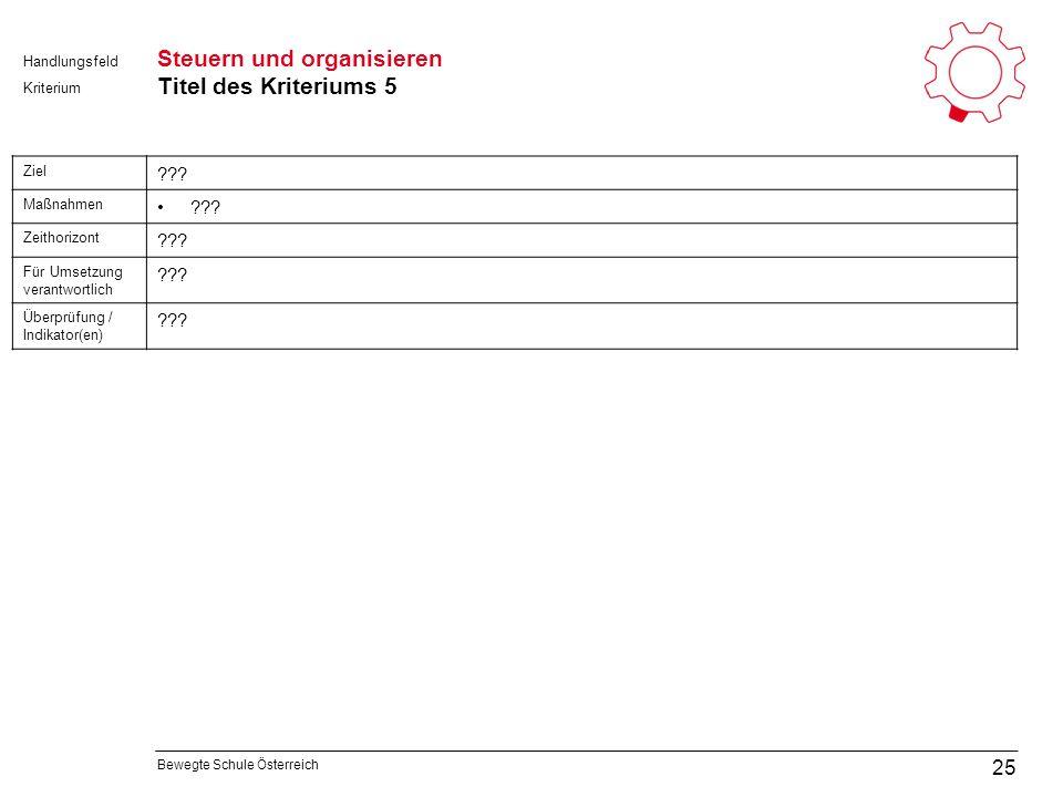 Bewegte Schule Österreich Kriterium Handlungsfeld Steuern und organisieren Titel des Kriteriums 5 25 Ziel .