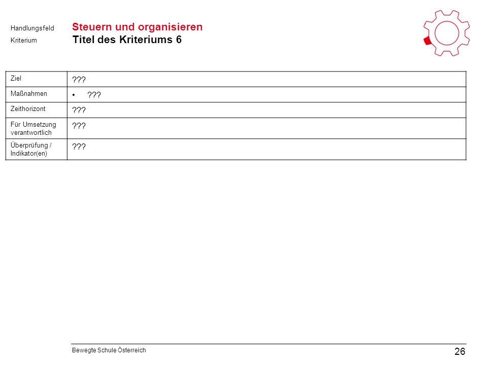 Bewegte Schule Österreich Kriterium Handlungsfeld Steuern und organisieren Titel des Kriteriums 6 26 Ziel .