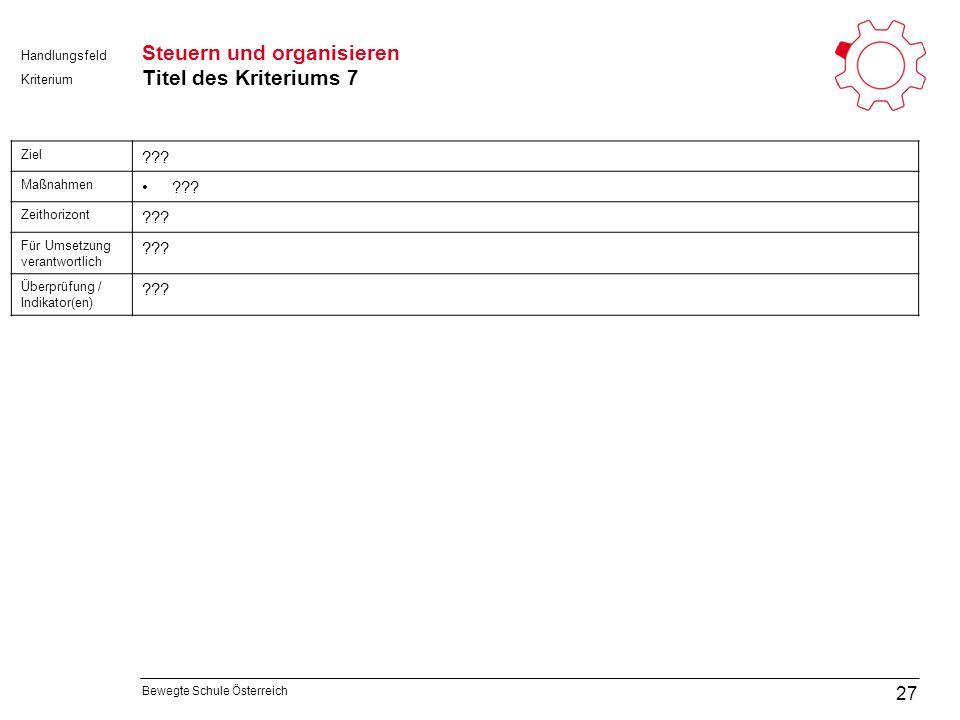 Bewegte Schule Österreich Kriterium Handlungsfeld Steuern und organisieren Titel des Kriteriums 7 27 Ziel .