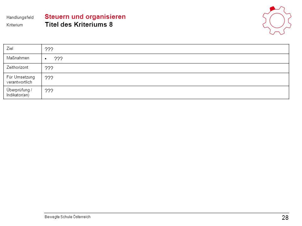 Bewegte Schule Österreich Kriterium Handlungsfeld Steuern und organisieren Titel des Kriteriums 8 28 Ziel .