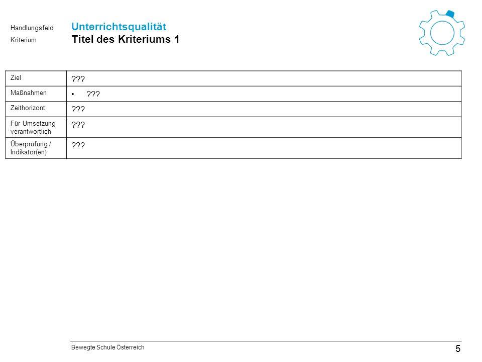 Bewegte Schule Österreich Kriterium Handlungsfeld Steuern und organisieren Titel des Kriteriums 6 26 Ziel ??.