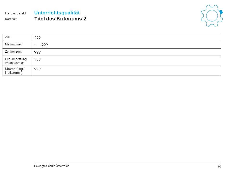 Bewegte Schule Österreich Kriterium Handlungsfeld Steuern und organisieren Titel des Kriteriums 7 27 Ziel ??.