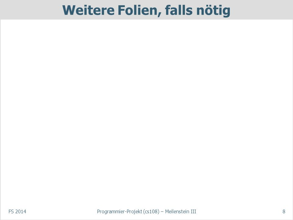 Demo des aktuellen Zustands des Spiels Beschreibung der Funktionalität, die gezeigt wird (gemäss Vorgaben) –Chat –Verwaltung von Spielen und Spielern –… FS 2014Programmier-Projekt (cs108) – Meilenstein III9