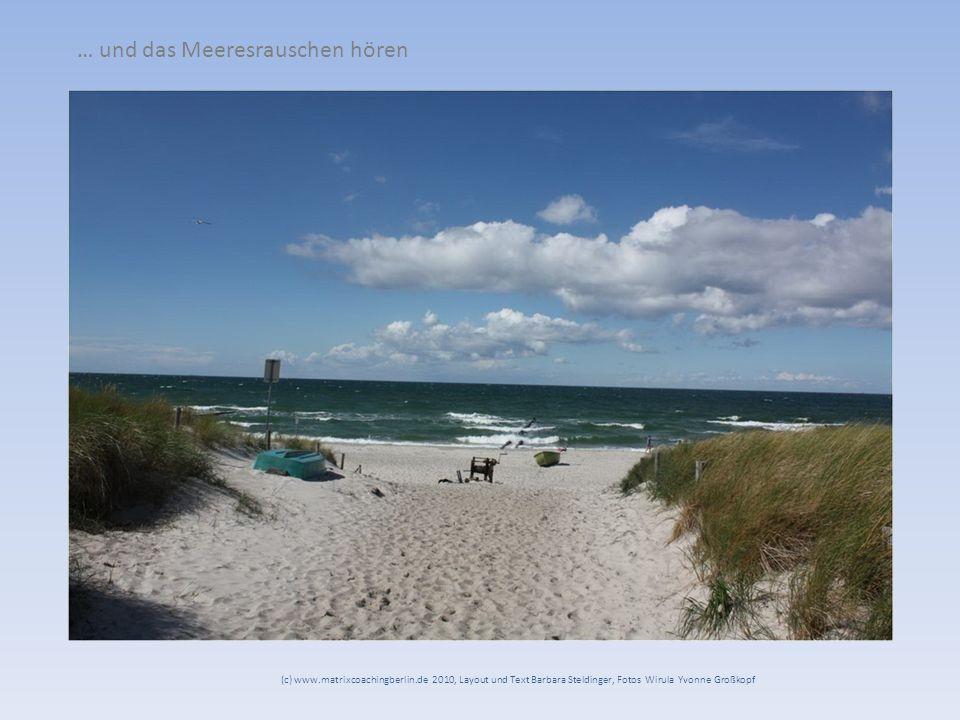 … und das Meeresrauschen hören (c) www.matrixcoachingberlin.de 2010, Layout und Text Barbara Steldinger, Fotos Wirula Yvonne Großkopf