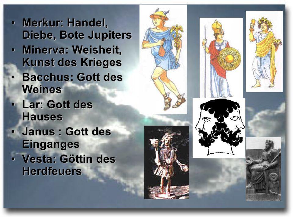 Merkur: Handel, Diebe, Bote JupitersMerkur: Handel, Diebe, Bote Jupiters Minerva: Weisheit, Kunst des KriegesMinerva: Weisheit, Kunst des Krieges Bacc