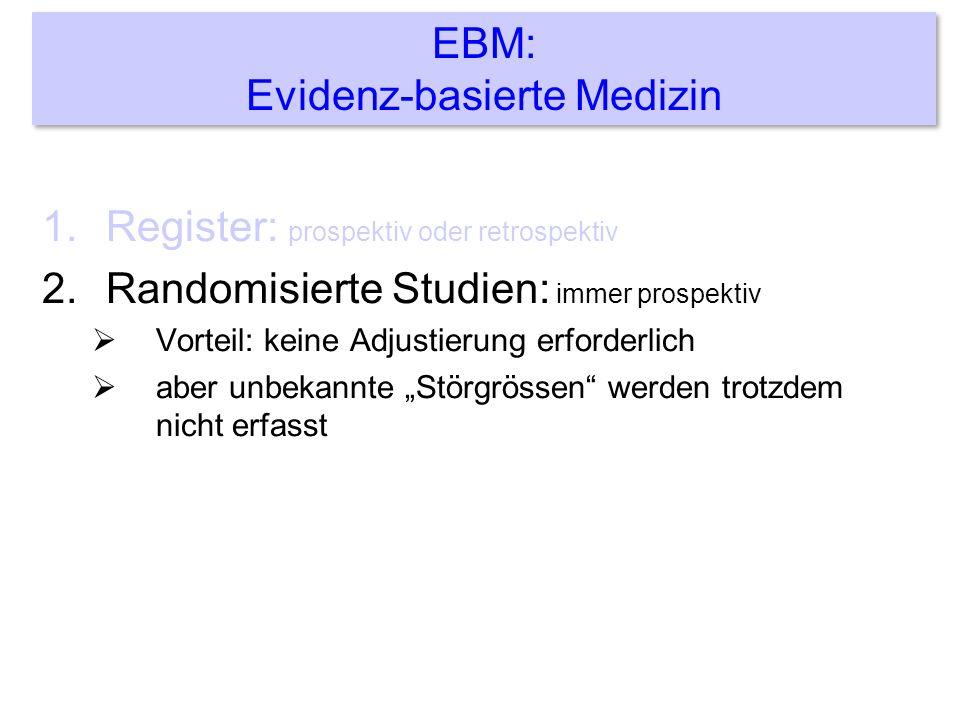1.Register: prospektiv oder retrospektiv 2.Randomisierte Studien: immer prospektiv Vorteil: keine Adjustierung erforderlich aber unbekannte Störgrössen werden trotzdem nicht erfasst EBM: Evidenz-basierte Medizin