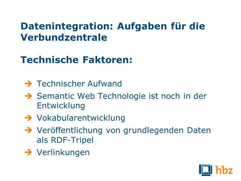 Datenintegration: Aufgaben für die Verbundzentrale Technische Faktoren: Technischer Aufwand Semantic Web Technologie ist noch in der Entwicklung Vokabularentwicklung Veröffentlichung von grundlegenden Daten als RDF-Tripel Verlinkungen
