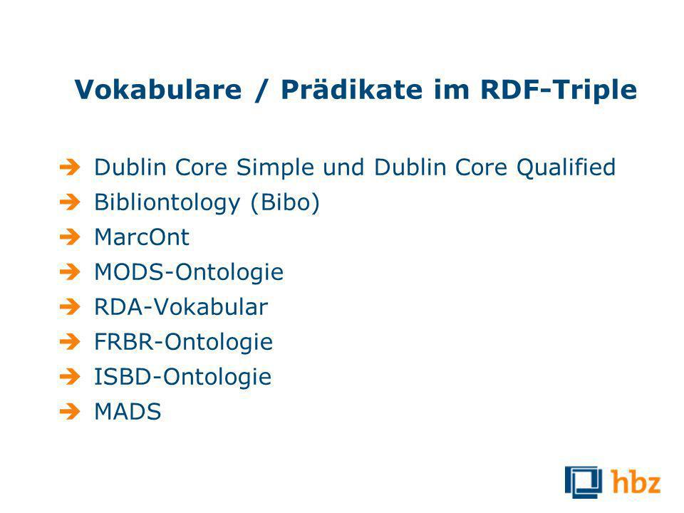 Vokabulare / Prädikate im RDF-Triple Dublin Core Simple und Dublin Core Qualified Bibliontology (Bibo) MarcOnt MODS-Ontologie RDA-Vokabular FRBR-Ontologie ISBD-Ontologie MADS