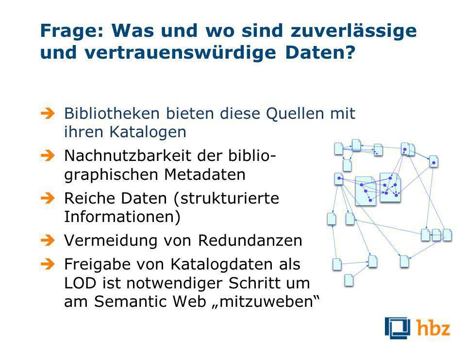 Frage: Was und wo sind zuverlässige und vertrauenswürdige Daten.