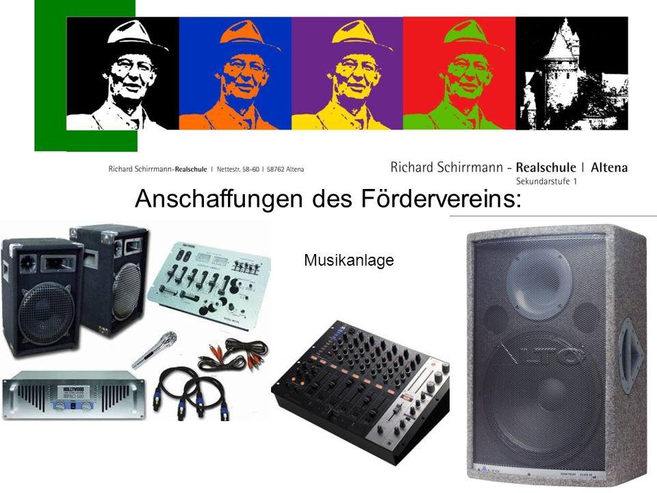 Anschaffungen des Fördervereins: Musikanlage