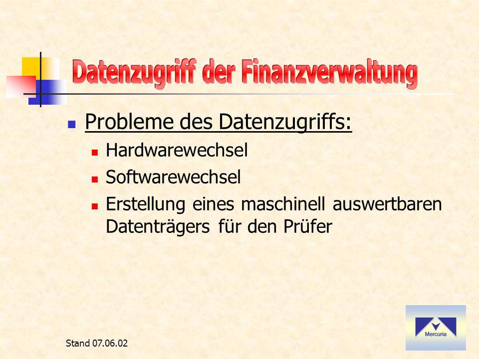 Stand 07.06.02 Probleme des Datenzugriffs: Hardwarewechsel Softwarewechsel Erstellung eines maschinell auswertbaren Datenträgers für den Prüfer
