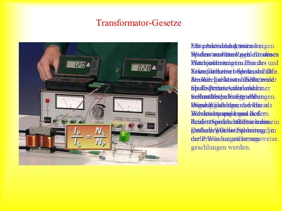 Transformator-Gesetze Mit einem induktiven Widerstand lässt sich ein neues Phänomen zeigen: Um das Eisenjoch einer Spule, durch die Wechselstrom fließ