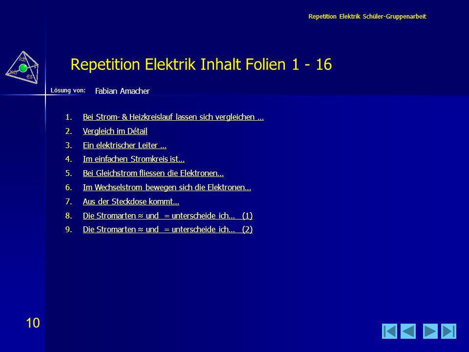 10 Lösung von: Repetition Elektrik Schüler-Gruppenarbeit Repetition Elektrik Inhalt Folien 1 - 16 Fabian Amacher 1.Bei Strom- & Heizkreislauf lassen sich vergleichen … Bei Strom- & Heizkreislauf lassen sich vergleichen …Bei Strom- & Heizkreislauf lassen sich vergleichen … 2.Vergleich im Détail Vergleich im DétailVergleich im Détail 3.Ein elektrischer Leiter … Ein elektrischer Leiter …Ein elektrischer Leiter … 4.Im einfachen Stromkreis ist… Im einfachen Stromkreis ist…Im einfachen Stromkreis ist… 5.Bei Gleichstrom fliessen die Elektronen… Bei Gleichstrom fliessen die Elektronen…Bei Gleichstrom fliessen die Elektronen… 6.Im Wechselstrom bewegen sich die Elektronen… Im Wechselstrom bewegen sich die Elektronen…Im Wechselstrom bewegen sich die Elektronen… 7.Aus der Steckdose kommt… Aus der Steckdose kommt…Aus der Steckdose kommt… 8.Die Stromarten und = unterscheide ich… (1) Die Stromarten und = unterscheide ich… (1)Die Stromarten und = unterscheide ich… (1) 9.Die Stromarten und = unterscheide ich… (2) Die Stromarten und = unterscheide ich… (2)Die Stromarten und = unterscheide ich… (2)