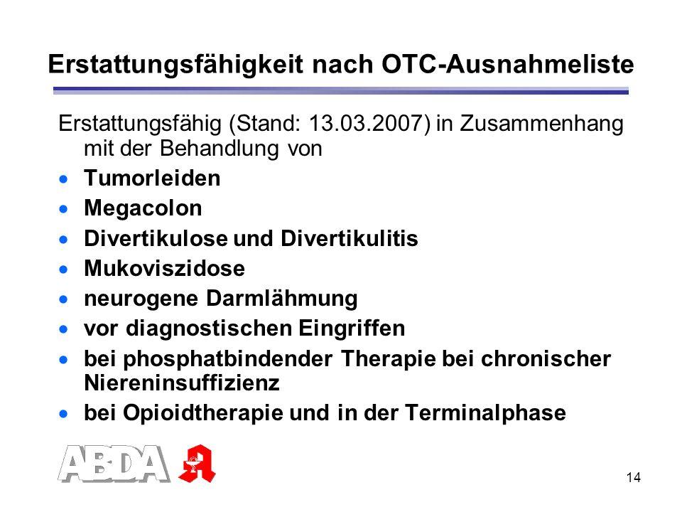 14 Erstattungsfähigkeit nach OTC-Ausnahmeliste Erstattungsfähig (Stand: 13.03.2007) in Zusammenhang mit der Behandlung von Tumorleiden Megacolon Diver