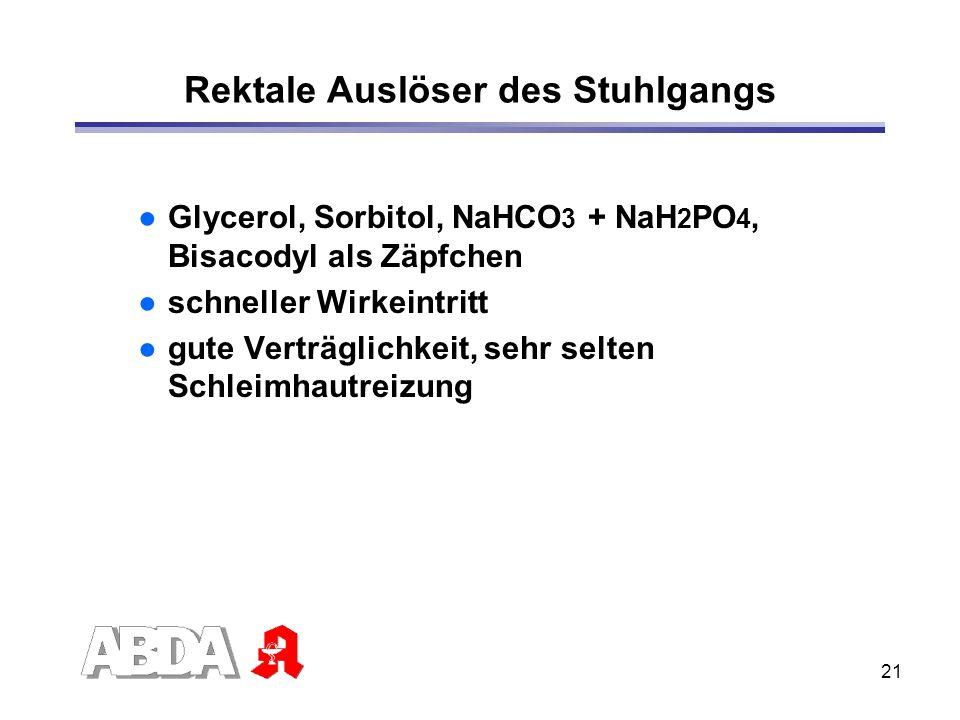 21 Rektale Auslöser des Stuhlgangs Glycerol, Sorbitol, NaHCO 3 + NaH 2 PO 4, Bisacodyl als Zäpfchen schneller Wirkeintritt gute Verträglichkeit, sehr