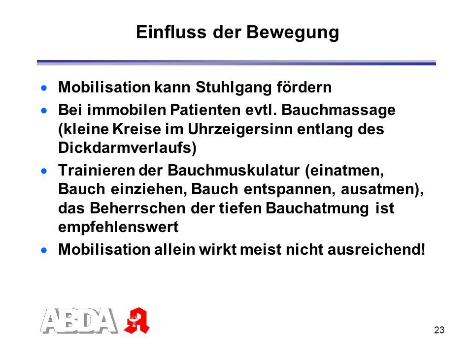 23 Einfluss der Bewegung Mobilisation kann Stuhlgang fördern Bei immobilen Patienten evtl. Bauchmassage (kleine Kreise im Uhrzeigersinn entlang des Di