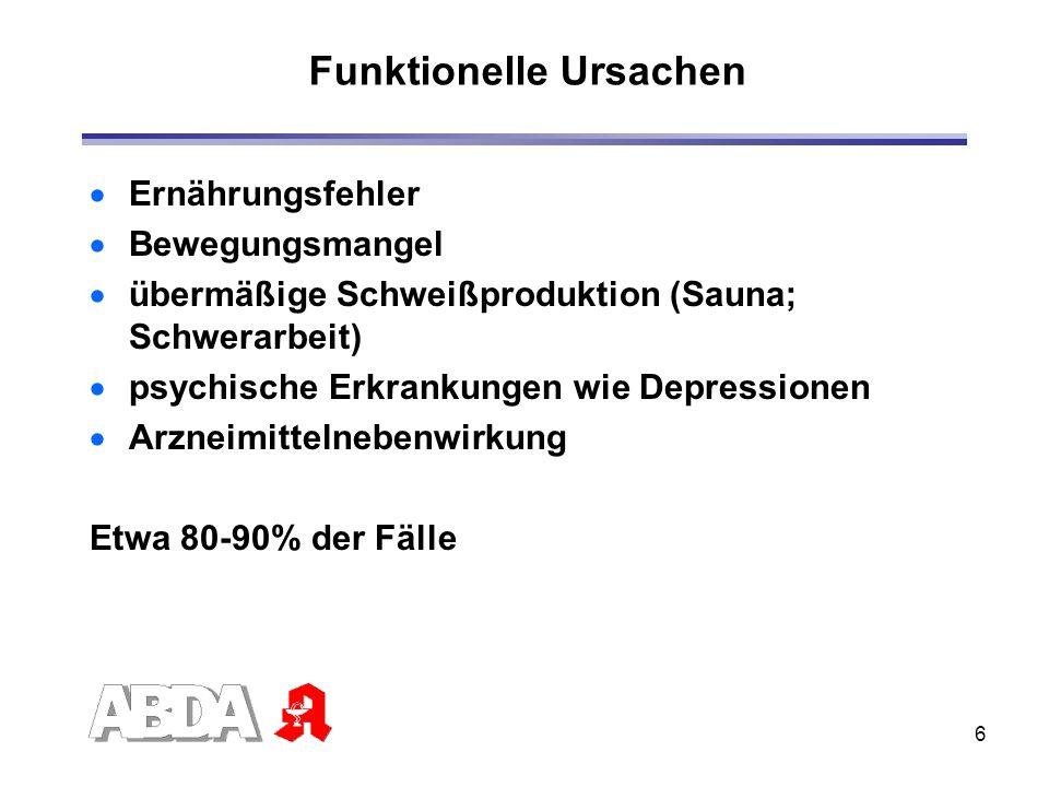 6 Funktionelle Ursachen Ernährungsfehler Bewegungsmangel übermäßige Schweißproduktion (Sauna; Schwerarbeit) psychische Erkrankungen wie Depressionen A