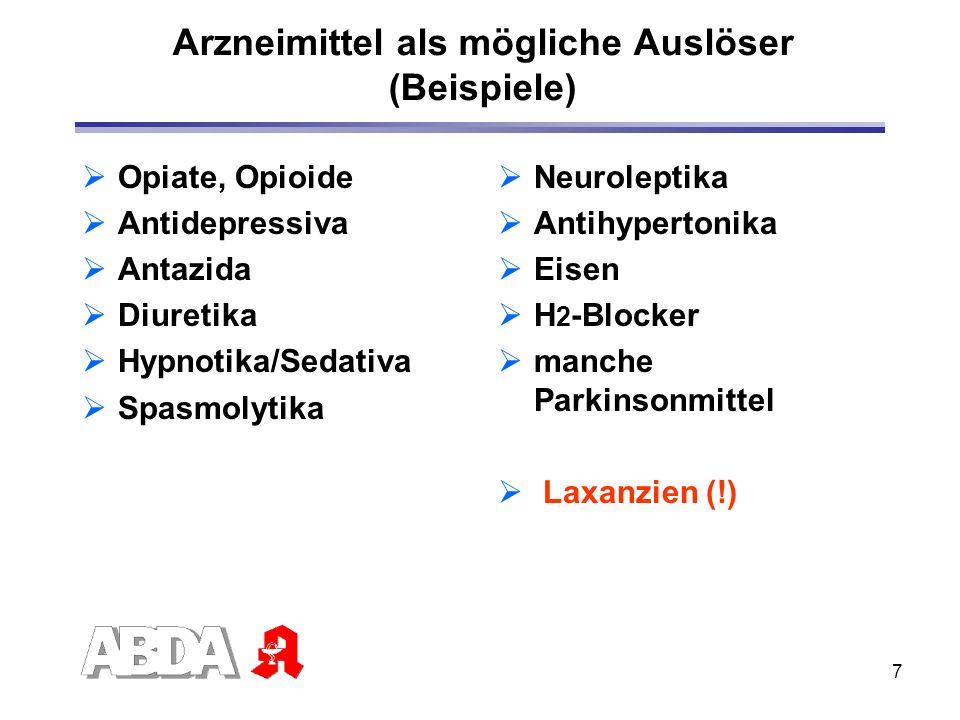 7 Arzneimittel als mögliche Auslöser (Beispiele) Opiate, Opioide Antidepressiva Antazida Diuretika Hypnotika/Sedativa Spasmolytika Neuroleptika Antihy