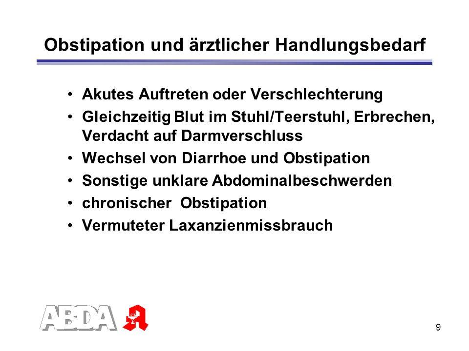9 Obstipation und ärztlicher Handlungsbedarf Akutes Auftreten oder Verschlechterung Gleichzeitig Blut im Stuhl/Teerstuhl, Erbrechen, Verdacht auf Darm