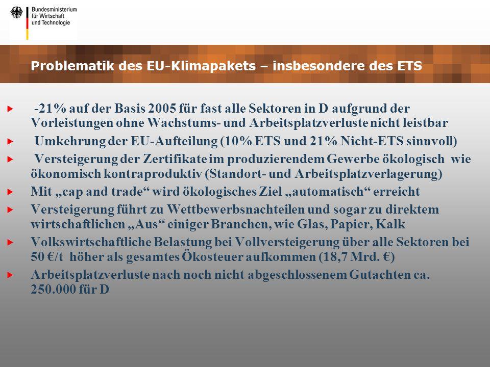 Problematik des EU-Klimapakets – insbesondere des ETS -21% auf der Basis 2005 für fast alle Sektoren in D aufgrund der Vorleistungen ohne Wachstums- u