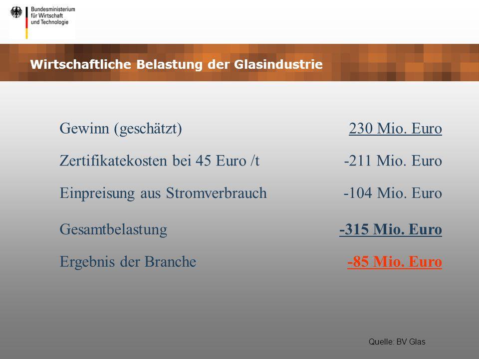 Wirtschaftliche Belastung der Glasindustrie Gewinn (geschätzt)230 Mio. Euro Zertifikatekosten bei 45 Euro /t-211 Mio. Euro Einpreisung aus Stromverbra