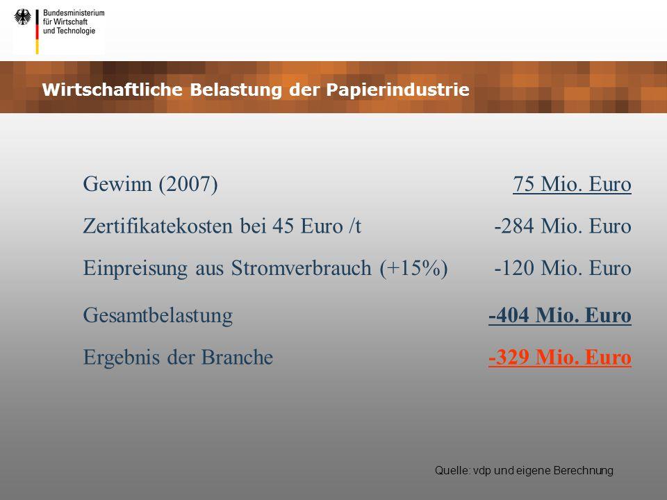 Wirtschaftliche Belastung der Papierindustrie Gewinn (2007)75 Mio. Euro Zertifikatekosten bei 45 Euro /t-284 Mio. Euro Einpreisung aus Stromverbrauch