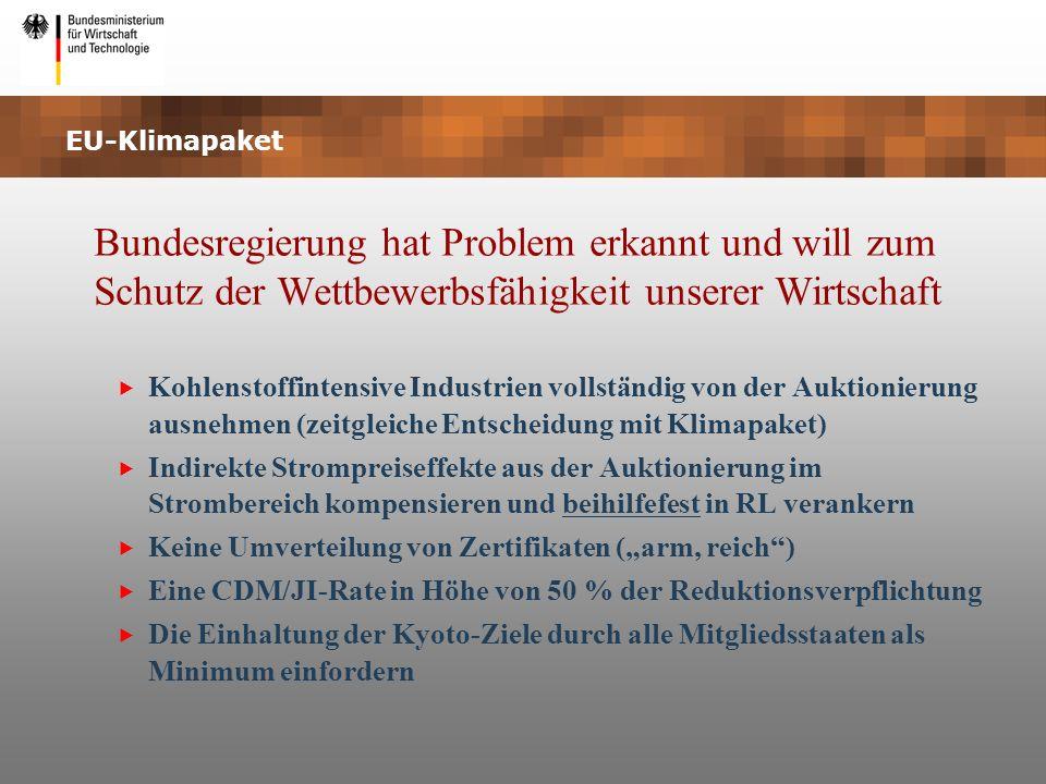 EU-Klimapaket Bundesregierung hat Problem erkannt und will zum Schutz der Wettbewerbsfähigkeit unserer Wirtschaft Kohlenstoffintensive Industrien voll