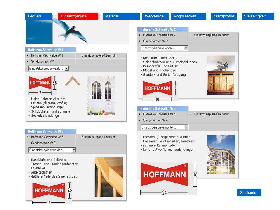 GrößenEinsatzgebieteMaterialKorpuseckenWerkzeuge Startseite KranzprofileVielseitigkeit
