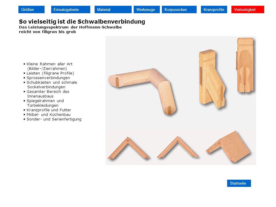 So vielseitig ist die Schwalbenverbindung Das Leistungsspektrum der Hoffmann-Schwalbe reicht von filigran bis grob Kleine Rahmen aller Art (Bilder-/Zi