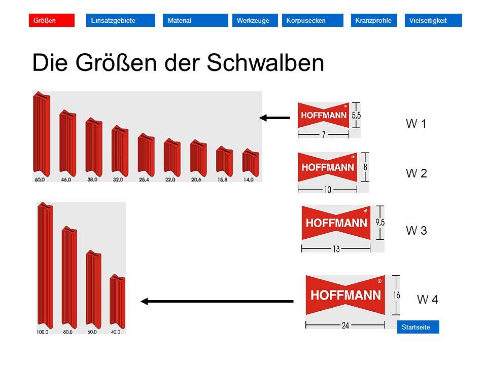 Die Größen der Schwalben W 1 W 2 W 3 W 4 GrößenEinsatzgebieteMaterialKorpuseckenWerkzeuge Startseite KranzprofileVielseitigkeit