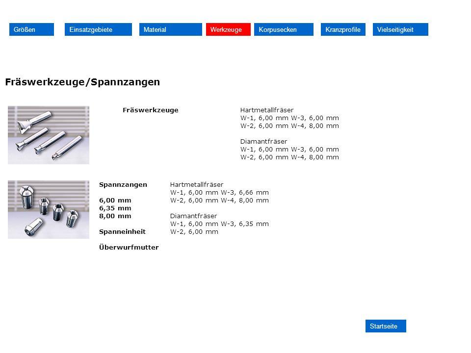 Fräswerkzeuge/Spannzangen FräswerkzeugeHartmetallfräser W-1, 6,00 mm W-3, 6,00 mm W-2, 6,00 mm W-4, 8,00 mm Diamantfräser W-1, 6,00 mm W-3, 6,00 mm W-