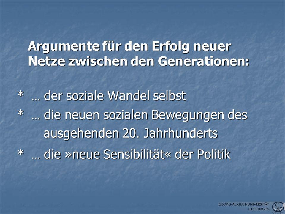 Argumente für den Erfolg neuer Netze zwischen den Generationen: * … der soziale Wandel selbst * … die neuen sozialen Bewegungen des ausgehenden 20.