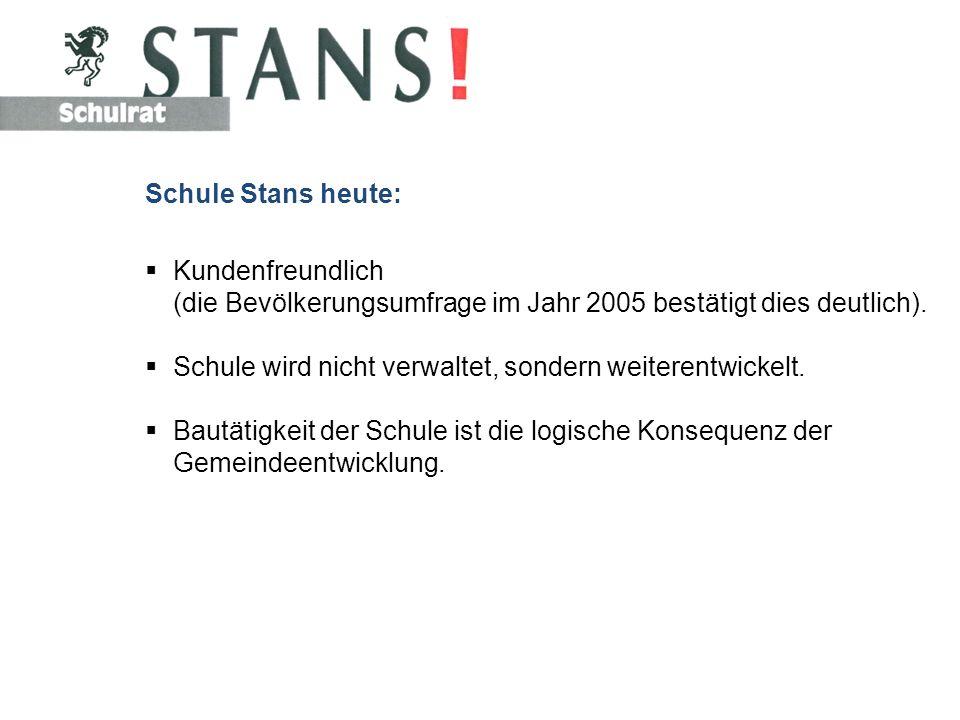 Schule Stans heute: Kundenfreundlich (die Bevölkerungsumfrage im Jahr 2005 bestätigt dies deutlich).