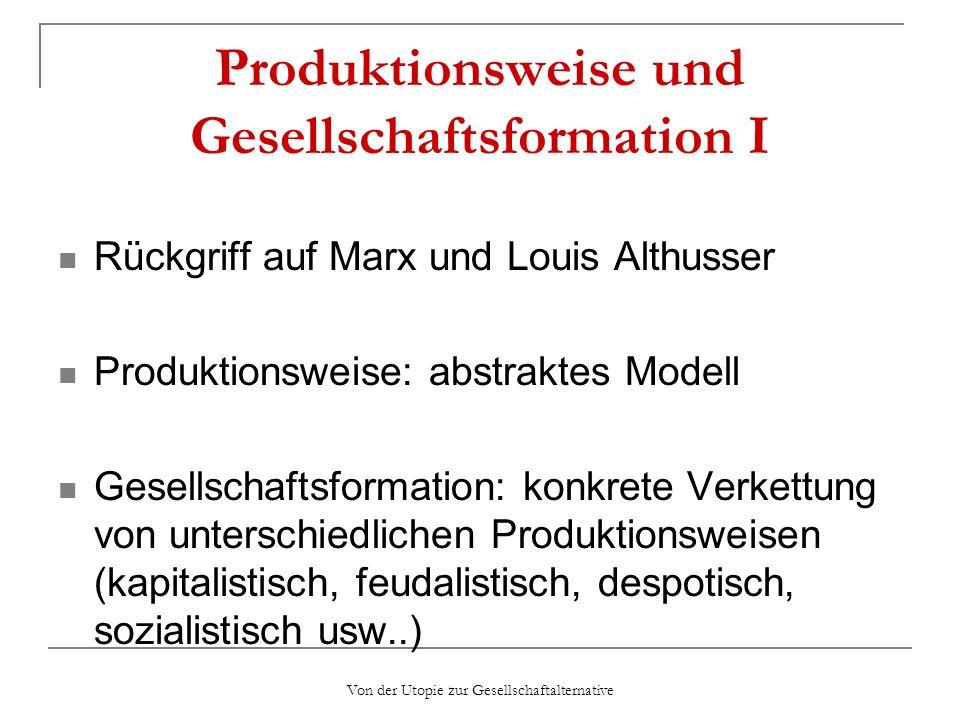 Von der Utopie zur Gesellschaftalternative Produktionsweise und Gesellschaftsformation I Rückgriff auf Marx und Louis Althusser Produktionsweise: abst