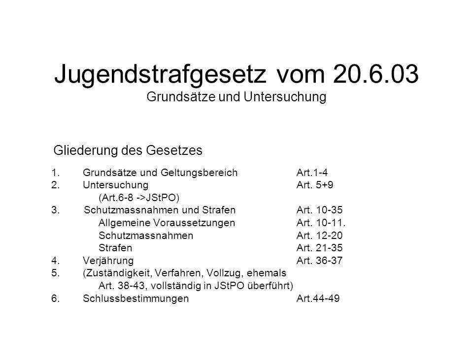 Jugendstrafgesetz vom 20.6.03 Grundsätze und Untersuchung 1.Grundsätze und Geltungsbereich Art.1-4 2.Untersuchung Art. 5+9 (Art.6-8 ->JStPO) 3. Schutz