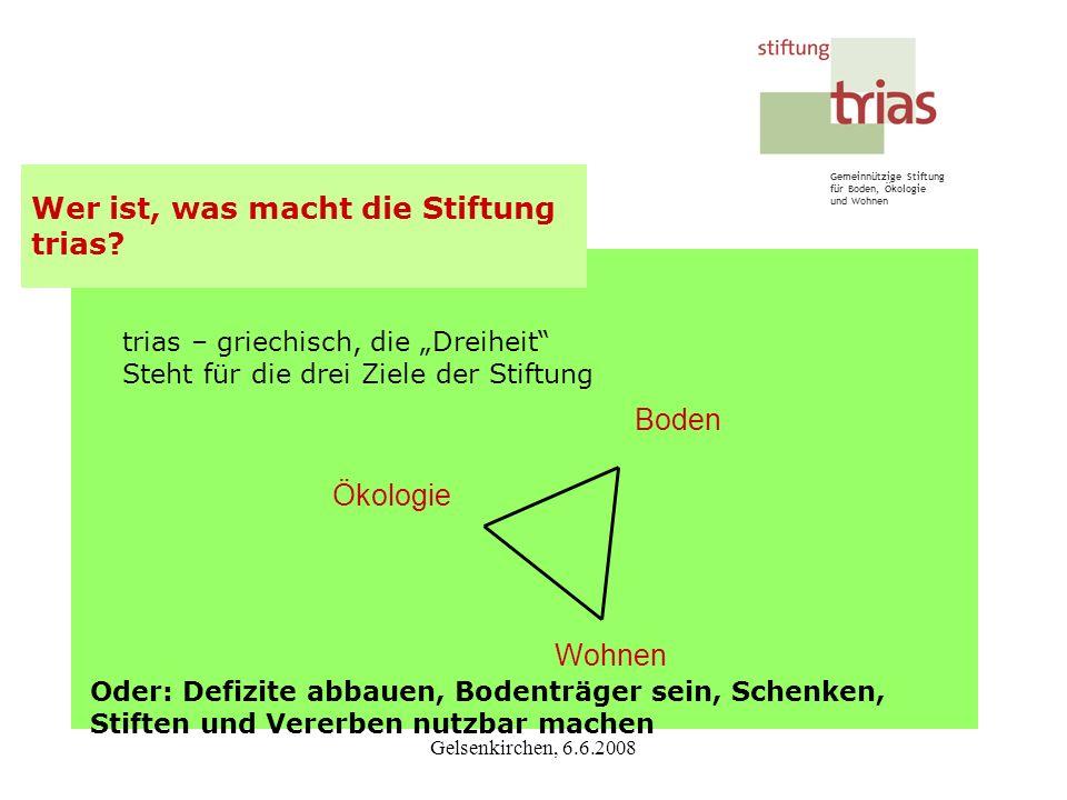Gemeinnützige Stiftung für Boden, Ökologie und Wohnen Gelsenkirchen, 6.6.2008 trias – griechisch, die Dreiheit Steht für die drei Ziele der Stiftung W