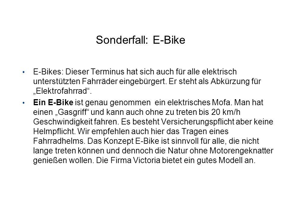 Sonderfall: E-Bike E-Bikes: Dieser Terminus hat sich auch für alle elektrisch unterstützten Fahrräder eingebürgert. Er steht als Abkürzung für Elektro