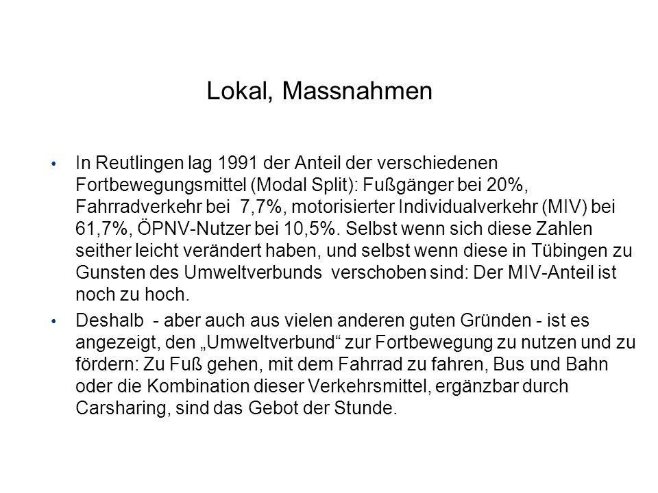 Lokal, Massnahmen In Reutlingen lag 1991 der Anteil der verschiedenen Fortbewegungsmittel (Modal Split): Fußgänger bei 20%, Fahrradverkehr bei 7,7%, m