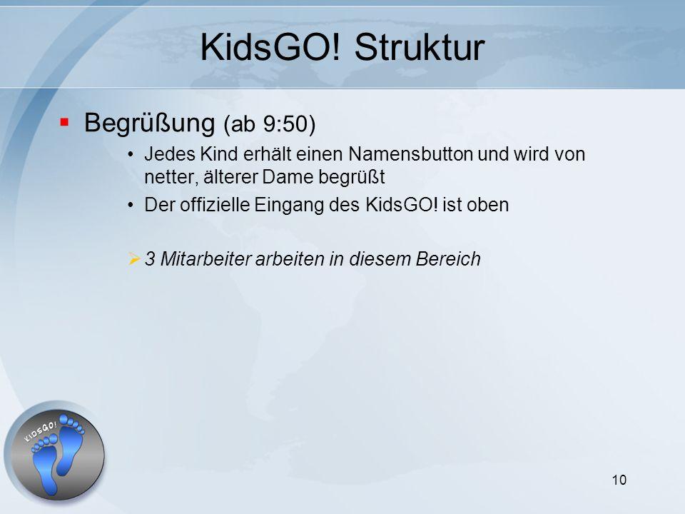 10 KidsGO! Struktur Begrüßung (ab 9:50) Jedes Kind erhält einen Namensbutton und wird von netter, älterer Dame begrüßt Der offizielle Eingang des Kids