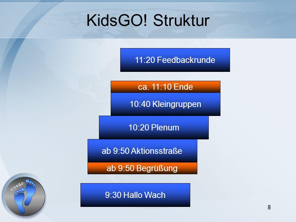 8 KidsGO! Struktur ab 9:50 Aktionsstraße 10:20 Plenum 10:40 Kleingruppen 11:20 Feedbackrunde ab 9:50 Begrüßung ca. 11:10 Ende 9:30 Hallo Wach
