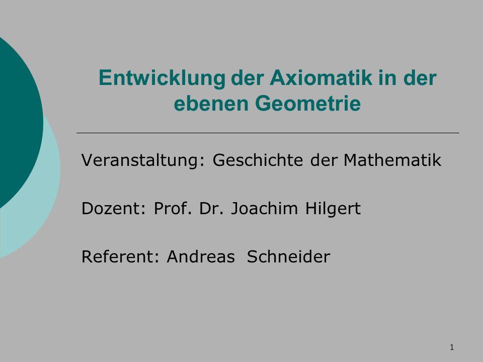 1 Entwicklung der Axiomatik in der ebenen Geometrie Veranstaltung: Geschichte der Mathematik Dozent: Prof.