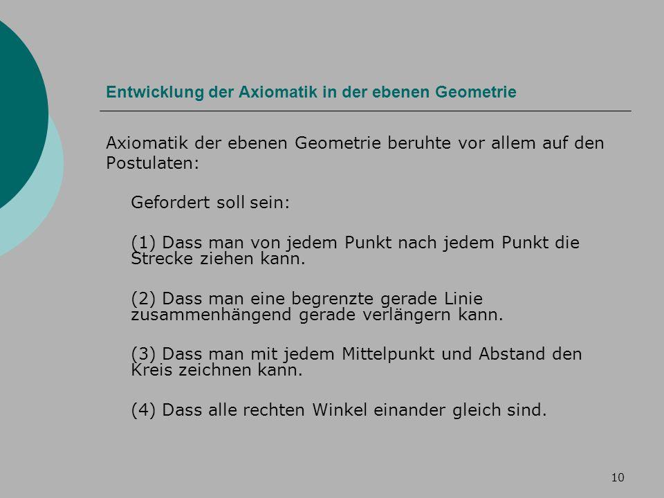 10 Entwicklung der Axiomatik in der ebenen Geometrie Axiomatik der ebenen Geometrie beruhte vor allem auf den Postulaten: Gefordert soll sein: (1) Dass man von jedem Punkt nach jedem Punkt die Strecke ziehen kann.