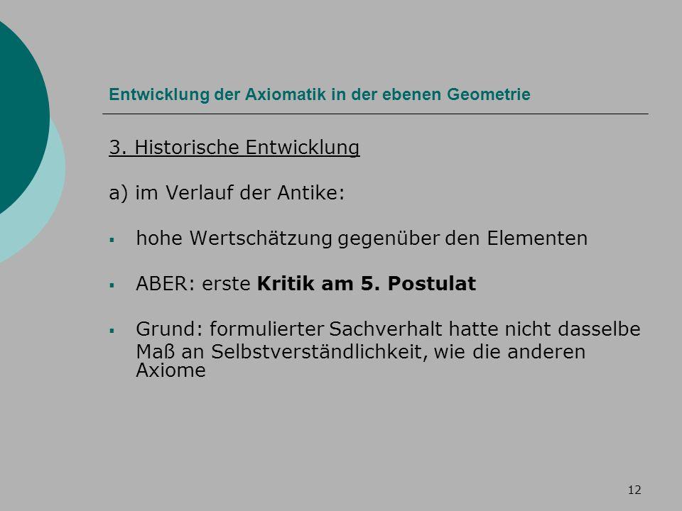 12 Entwicklung der Axiomatik in der ebenen Geometrie 3.