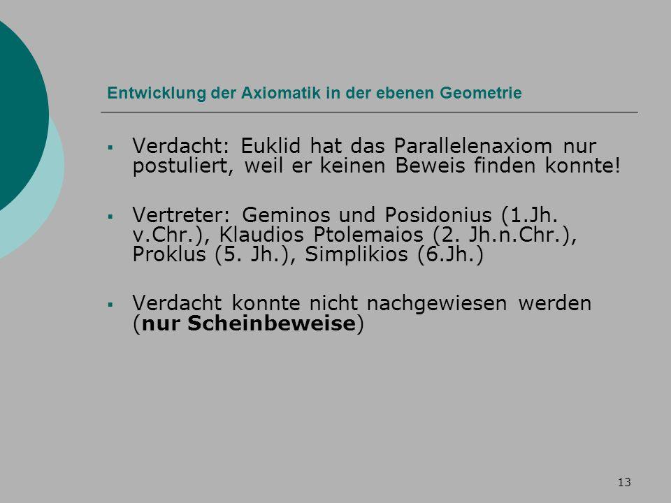 13 Entwicklung der Axiomatik in der ebenen Geometrie Verdacht: Euklid hat das Parallelenaxiom nur postuliert, weil er keinen Beweis finden konnte.