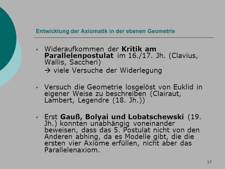 17 Entwicklung der Axiomatik in der ebenen Geometrie Wideraufkommen der Kritik am Parallelenpostulat im 16./17.