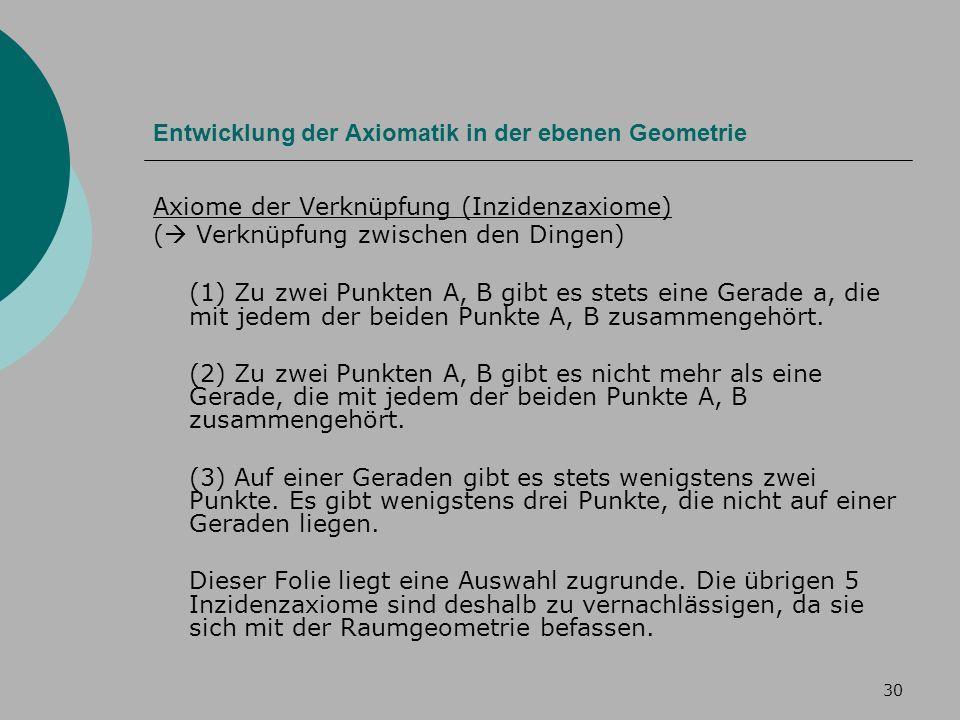 30 Entwicklung der Axiomatik in der ebenen Geometrie Axiome der Verknüpfung (Inzidenzaxiome) ( Verknüpfung zwischen den Dingen) (1) Zu zwei Punkten A, B gibt es stets eine Gerade a, die mit jedem der beiden Punkte A, B zusammengehört.