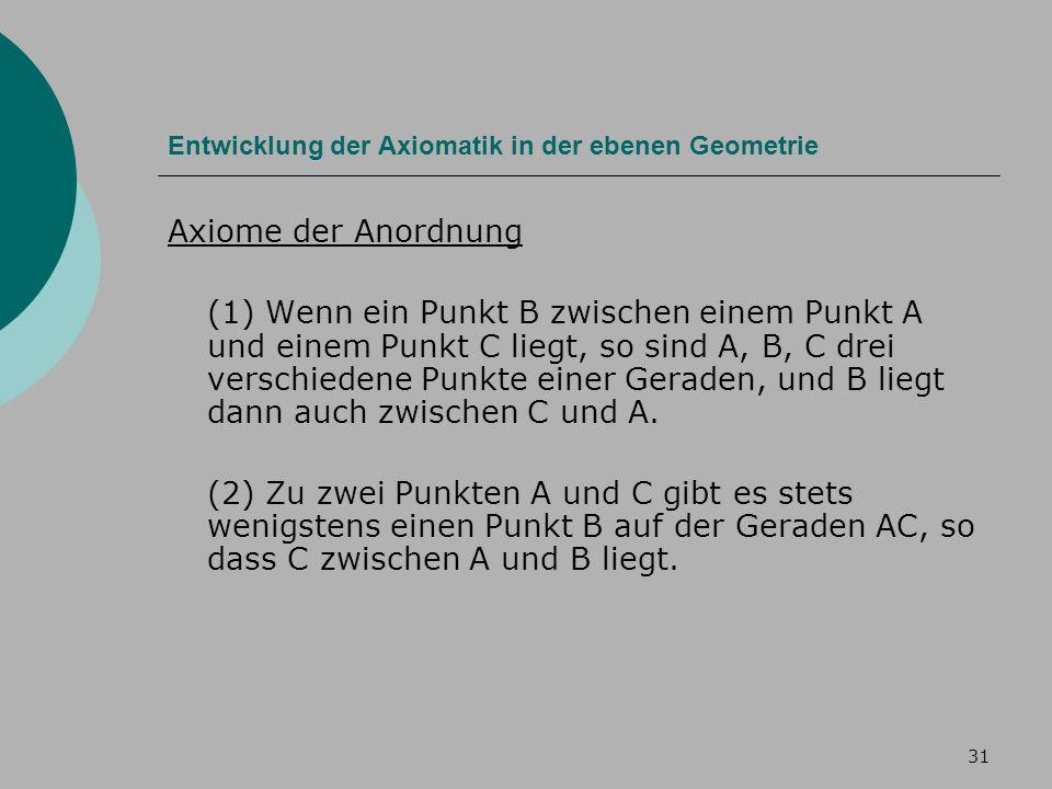 31 Entwicklung der Axiomatik in der ebenen Geometrie Axiome der Anordnung (1) Wenn ein Punkt B zwischen einem Punkt A und einem Punkt C liegt, so sind A, B, C drei verschiedene Punkte einer Geraden, und B liegt dann auch zwischen C und A.