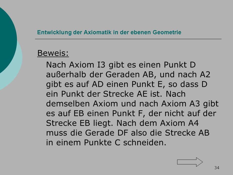 34 Entwicklung der Axiomatik in der ebenen Geometrie Beweis: Nach Axiom I3 gibt es einen Punkt D außerhalb der Geraden AB, und nach A2 gibt es auf AD einen Punkt E, so dass D ein Punkt der Strecke AE ist.