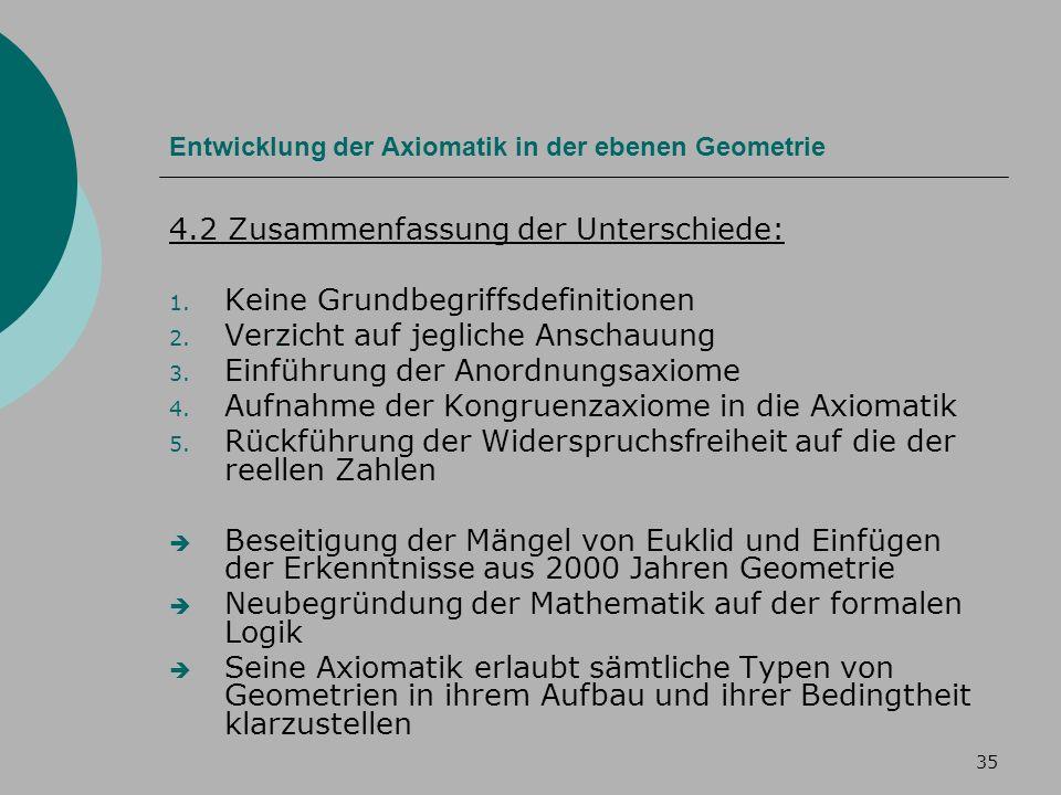 35 Entwicklung der Axiomatik in der ebenen Geometrie 4.2 Zusammenfassung der Unterschiede: 1.